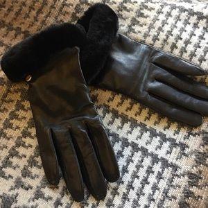 UGG Gloves Leather with Genuine Fur Cuffs